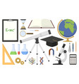 set scientific tools in flat design vector image