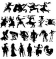 silhouettes cartoon fantasy characters vector image