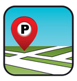 Street map icon with the pointer parking vector image vector image