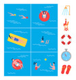 swimming pool activity icons vector image vector image