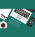 top view flat design office workspace vector image vector image