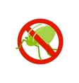 Warning sign with grasshopper icon vector image vector image