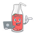 with laptop strawberry smoothie character cartoon vector image