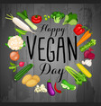 world vegan day vegetables and place for text vector image vector image