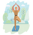 yoga time in autumn park card vector image vector image