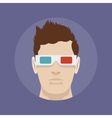 Young man in the 3d stereo glasses vector image
