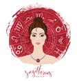 zodiac signs sagittarius in image of beauty girl vector image