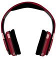 Red headphones vector image