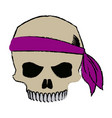 pirate half skull with bandana character vector image