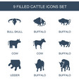 9 cattle icons vector image vector image