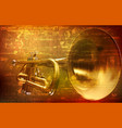 abstract grunge background with trumpet vector image vector image