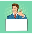 Advertising man with banner place for text vector image vector image
