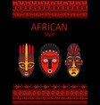 african style red borders and mask vector image vector image