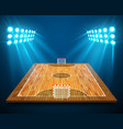 an of hardwood perspective futsal court or field vector image vector image
