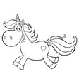 black and white cute magic unicorn vector image vector image