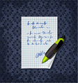 Blank note paper with green pen vector image