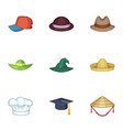 bonnet icons set cartoon style vector image vector image