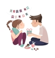 Boy giving gift to girlfriend vector image