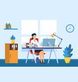 businesswoman working on computer at desk vector image vector image