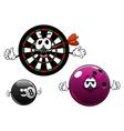 Cartoon bowling billiard and dartboard characters vector image