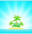 cartoon seascape with exotic island in ocean under vector image vector image