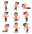 Cartoon senior woman character poses vector image vector image