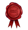 Certified Quality Product Wax Seal vector image vector image