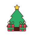 christmas tree pine gifts box celebration festive vector image