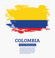 colombia flag with brush strokes vector image