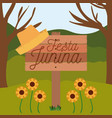 colorful poster festa junina in wooden fence with vector image vector image