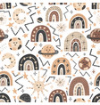 cosmic seamless pattern with cute rainbows vector image