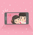 couple are taking selfies vector image vector image