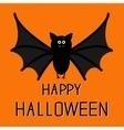 Cute bat Happy Halloween card Flat design vector image vector image