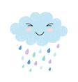 cute happy cartoon kawaii cloud on blue background vector image vector image