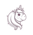 cute head of unicorn monochrome vector image