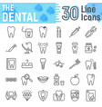 dental line icon set stomatology symbols vector image