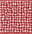 distorted gingham red and white wavy line pattern vector image vector image
