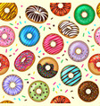 donuts pattern tasty bakery dessert vector image