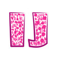 english pink letter i j on a white background vector image vector image