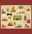 factory icons retro colors vector image