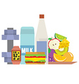 Fitness Tools With Healthy Food vector image vector image