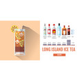 flat style cocktail long island ice tea menu vector image vector image