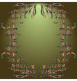 Floral elements green gradient background vector image vector image
