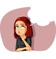 funny girl thinking having an idea vector image
