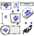 glossy icons with flag of busan vector image vector image