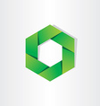 green hexagon eco symbol abstract background vector image vector image