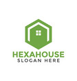 green hexagon house logo icon design template vector image