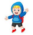 happy boy going to school vector image