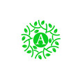 letter a with green leaf circle logo concept vector image