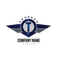 letter t shield logo vector image vector image